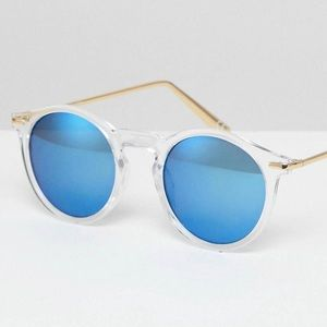 NWT ASOS Round Sunglasses with Blue Flash Lens
